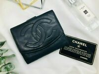 Chanel Wallet Black Lambskin Leather Bifold Purse Vintage  Authentic  CW020