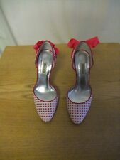 Ladies Shoes Dune white/fuchsia polka dot & bow UK 4, EU 37 very good cond. 3075