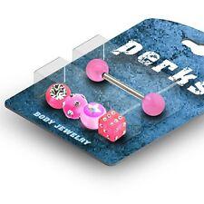 Zungenpiercing Bonus Packung mit Ersatz-Kugeln und Würfel pink