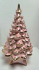 Vintage Pink Ceramic Iridescent Christmas Tree 20 Tall Holland Mold Shabby Chic