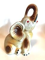 Antique Elephant Figurine Made in Brazil Ceramic Good Luck Collectible 7.5 inch
