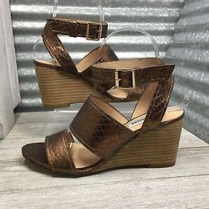 Steven Madden Women's Gladiator Bronze Strap Retile Texture Sandal Shoe Size 6.5