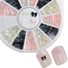3D Black White Bow Tie Nail Art Acrylic Glitter Decorations Wheel New