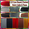 Round /Twisted 2/3Core Braided Fabric Cable Lighting Lamp Flex Vintage Colour UK