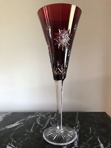 Waterford Crystal Snowflake Wishes Joy Ruby Champagne Flute cut to clear
