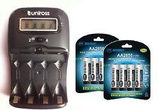 UNiROSS LCD 1-2 HOUR AA/AAA  Battery CHARGER & 8 x AA 2850 mAh Rechargeable Batt