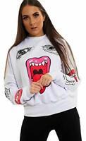MONSTER Print Sweatshirt Jumper Celebrity Olivia Samira Casual Ladies Womens
