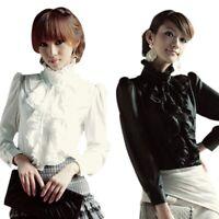 US Women's High Neck Ruffle Vintage Victorian Shirt Long Sleeve Trim Tops Blouse