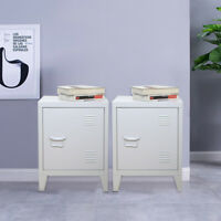 PAIR of Retro Locker Side Cabinets VINTAGE INDUSTRIAL Bedside Tables NEW