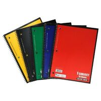 """Spiral Bound Notebook WIDE Ruled 70 Sheets Assorted Colors 8.5""""11"""" Perf (Pack 5)"""