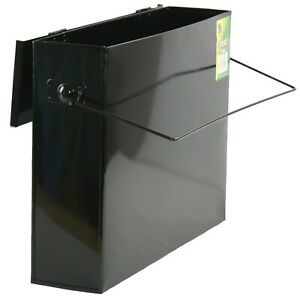 GALVANISED METAL HOT ASH BOX CARRIER BLACK  FIREPLACE BUCKET BIN CONTAINER