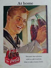 1951 Coca Cola soda bottle carton sailor military redhead boy ad