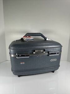 American Tourister Blue Vintage Train / Cosmetic Case No Tray No Key MCM