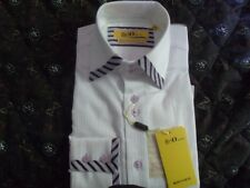 Mens Dress Shirt, Brio, 14 1/2- 15, white, textured, purple trim, lilac buttons