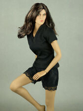 1/6 Phicen, TB League, NT - Female Black V-Neck Shirt + Black Lace Shorts Set