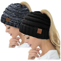 Ponytail Beanie Hat for Women, High Messy Warm Stretch Cable Knit Winter Cap