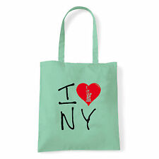 Art T-shirt, Borsa shoulder I Love NY, Menta, Shopper, Mare