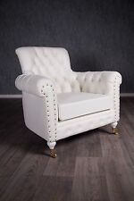 Baroque Armchair Chesterfield Antique Solid White Art Furniture King's Chair