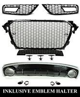 Pour Audi A4 B8 12-16 RS4 Look Calandre Nid D'Abeille + Extrémité Diffuseur D