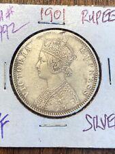 INDIA 1 RUPEE KM492 1901 QUEEN VICTORIA 1 SILVER MONEY BRITISH INDIAN ASIA COIN