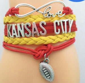 Kansas City Chiefs Infinity Collection Bracelet With Football & Love Charms New