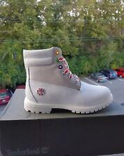 "TIMBERLAND Women's A1U67 WATERVILLE  6"" WHITE WATERPROOF LEATHER BOOTS. SZ:9"