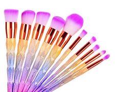 Unicorn Makeup Set Colorful 10Pcs Foundation Eyebrow Eyeliner Eyeshadow Brushes