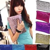 Glitter Sparkling Sequins Dazzling Clutch Evening Party Handbag Bag Bling Purse