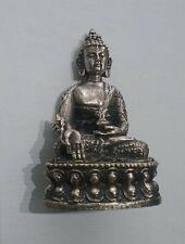 Medicine Buddha Miniature Healing Statue All Metal Statuette in 3D Silver Color