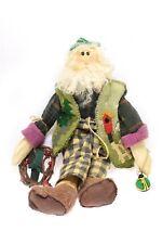 Primitive Handmade Santa Claus Green Vest -Appliqué Vintage Toy -One of a Kind