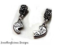 2 x Beautiful Mother & Son European Pendant Charms Fit Necklace Bracelet Keyring