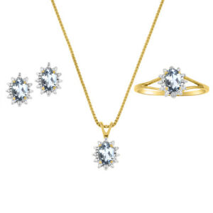 Aquamarine & Diamond Pendant, Earrings & Ring in 14k Yellow Gold Plated silver
