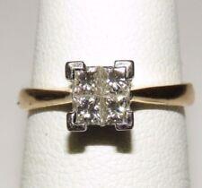 14k Yellow Gold women Solitaire Quad Princess 0.4 Ct Diamond Engagement Ring Sz4