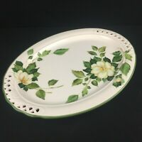VTG Oval Serving Platter Brunelli BNI7 White Flower Reticulated Lattice Italy