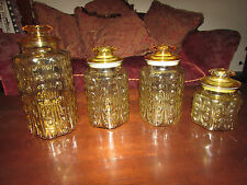 LOT OF  4 L E SMITH IMPERIAL ATTERBURY SCROLL HONEY AMBER CANISTER SET