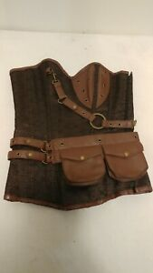 Brown Cosplay Steampunk Corset Faux Leather Brown Removable Pouch Petite Size M