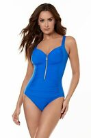 Miraclesuit Swim Zip Code in Delphine Blue - Firm Control Shaping swimsuit