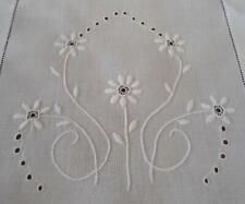 Antique Heirloom Linen Table Runner Broderie Embroidery Floral 11x38