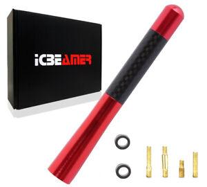"JDM 5"" Inch Real Carbon Fiber Red Antenna Billet Aluminum For Car & Truck L892"