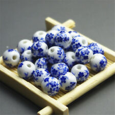 20/100 Elegant Ceramic Round Blue and White Porcelain Beads Jewelry Material 8mm 20pcs