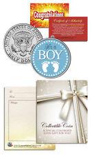 """It's a Boy"" Baby Gift  Keepsake JFK Kennedy Half Dollar U.S. Colorized Coin"