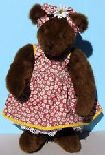 "20"" Mother Vermont Teddy Bear Girl w Sundress Headband w Bow, Brown, RARE OOAK"