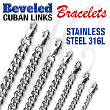 """Stainless Steel 316L Beveled Cuban Links Bracelets 6""""-10.5"""" 4mm-10mm thick"""
