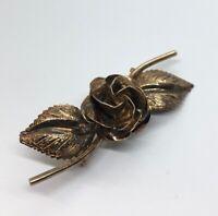 Vintage Sterling Silver Brooch Pin 925 Rose Flower Gold Vermeil Tone Signed