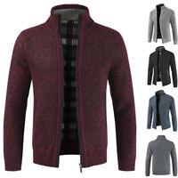 Men's Casual Thicken Knitwear Coat Zipper Jacket Winter Warm Sweater Outwear New