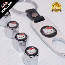 Chrome Wheels Tire Valve Dust Stems Air Caps + Keychain Hello Kitty Logo Emblem