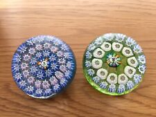 John Deacons Small Thistle Centred Millefiori Glass Paperweights X 2