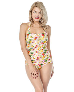 Esther Williams Classic Sheath Fruit Punch Tropical One Piece Swimsuit E11192