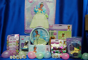 Princess & The Frog Party Set # 12 Invites Tiana Plates Candle Centerpiece Game