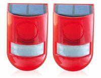 Solar Security Light Alarm,2 Pack IP65 Waterproof PIR LED Motion Sensor Flashing